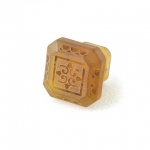 "Amber Etched Glass 1 1/4"" Furniture Knob"