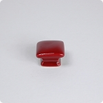 Domed Square Knob-Cranberry Red