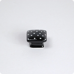 Domed Square Knob-White Dots