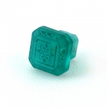 "Turquoise Etched Glass 1 1/4"" Furniture Knob"